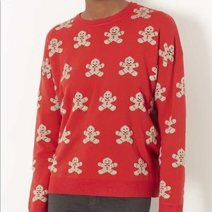 Top Shop gingerbread red crew neck sweater